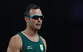 Oscar Pistorius of South Africa looks on prior to the Men's 400m T44 heatson day 9 of the London 2012 Paralympic Games at Olympic Stadium on...