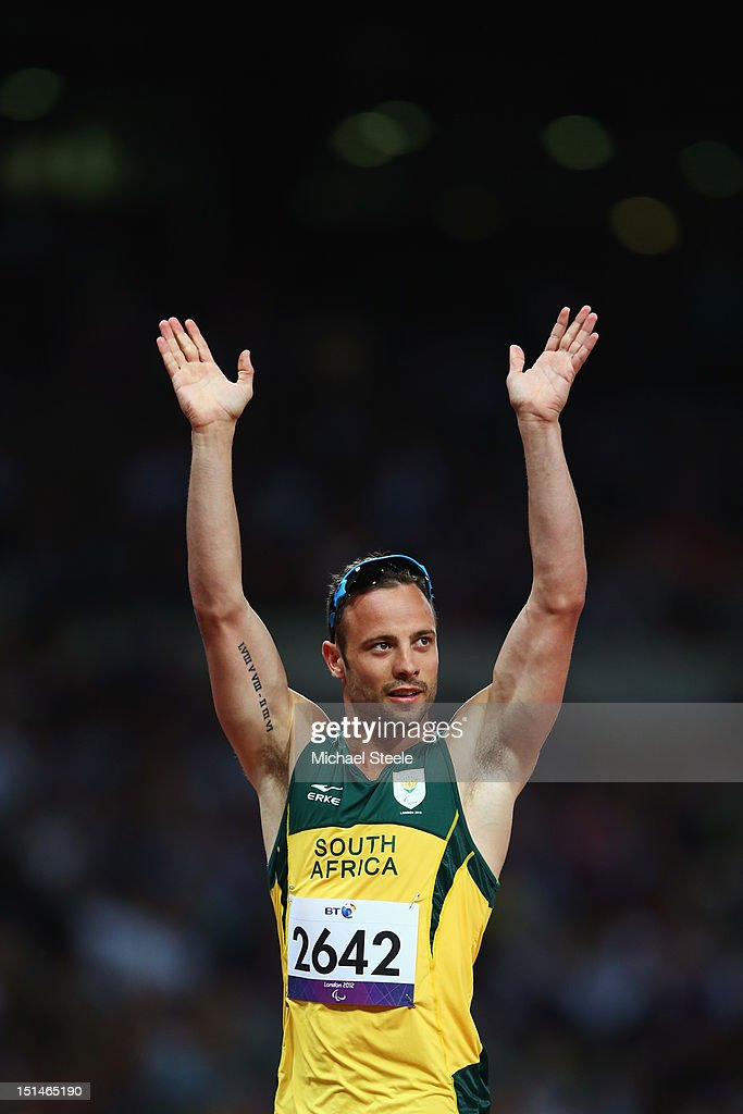 <a gi-track='captionPersonalityLinkClicked' href=/galleries/search?phrase=Oscar+Pistorius&family=editorial&specificpeople=224406 ng-click='$event.stopPropagation()'>Oscar Pistorius</a> of South Africa salutes the crowd after the Men's 400m T44 heats on day 9 of the London 2012 Paralympic Games at Olympic Stadium on September 7, 2012 in London, England.