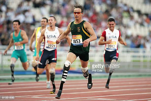 Oscar Pistorius of South Africa wins the 200m T44 for Men at the Athens 2004 Paralympic Games on September 21 2004 at the Olympic Stadium in Athens...