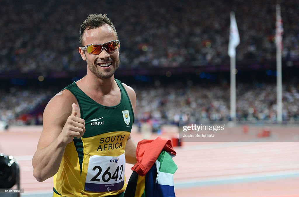 <a gi-track='captionPersonalityLinkClicked' href=/galleries/search?phrase=Oscar+Pistorius&family=editorial&specificpeople=224406 ng-click='$event.stopPropagation()'>Oscar Pistorius</a> of South Africa wins the Men's 400m - T44 on Day 10 of the London 2012 Paralympic Games at the Olympic Stadium on September 8, 2012 in London, England.
