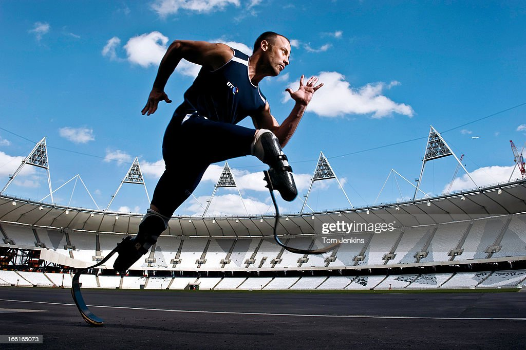 Oscar Pistorius, the South African paralympian, poses for a portrait in the Olympic Stadium on May 23rd 2011 in Stratford, London (Photo by Tom Jenkins/Getty Images). An image from the book 'In The Moment' published June 2012