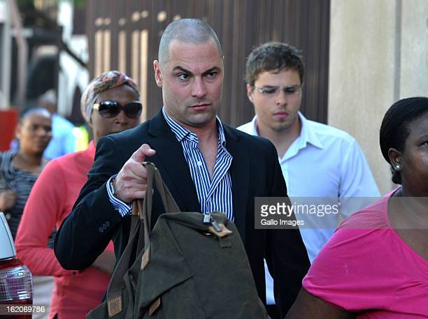Oscar Pistorius's brother Carl Pistorius arrives for his brother's bail hearing at the Pretoria Magistrate Court on February 19 2013 in Pretoria...