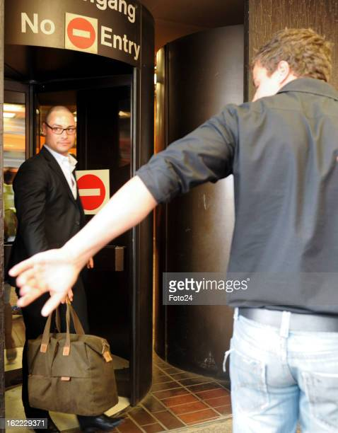 Oscar Pistorius's brother Carl Pistorius leaves the Pretoria Magistrate Court on February 20 2013 in Pretoria South Africa Oscar Pistorius who has...