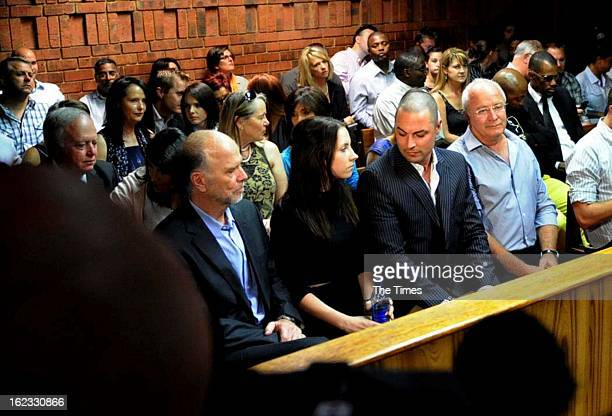 Oscar Pistorius's family members during his bail hearing in the Pretoria Magistrate Court on February 21 2013 in Pretoria South Africa Oscar...