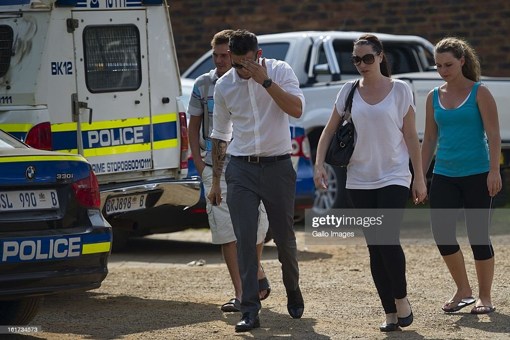 Oscar Pistorius's sister Aimee Pistorius leaves Boschkop Police Station on February 14, 2013 in Pretoria, South Africa. Pistorius was then taken to hospital for a blood test, prior to his appearance at court. He was arrested following a shooting at his residence on the morning of February 14, 2013.