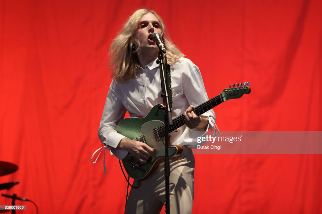 Oscar Pollock of Sundara Karma performs on day two of Reading Festival at Richfield Avenue on August 26, 2017 in Reading, England.