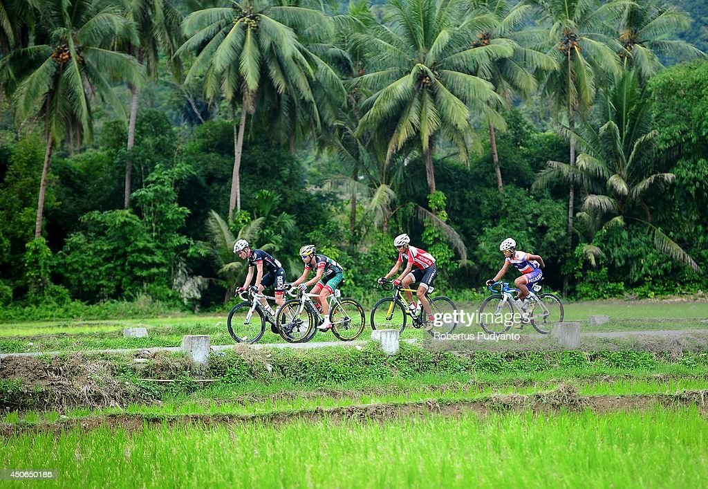 Oscar Pujol Munoz of Skydive Dubai Pro Cycling Team leads, follow by Edgar Nohales Nieto of Team 7 Eleven Roadbike Phillipine, Hari Fitriyanto of Indonesia National Team, and Jamalldin Novardianto of Pegasus Continental Cycling Team Indonesia during stage 9 of the 2014 Tour de Singkarak from Pesisir Selatan to Padang City with a distance of 120.5 km on June 15, 2014 in Padang, Indonesia.