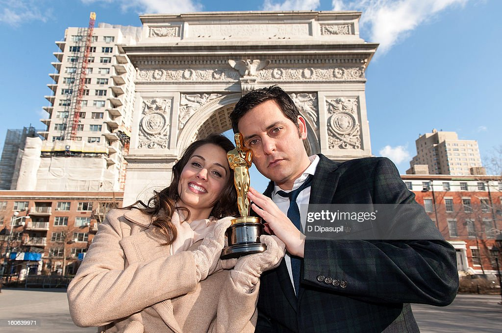 Oscar Roadtrip reporters Angie Greenup (L) and Ben Gleib attend the 2012 Oscar Roadtrip at Washington Square Park on February 4, 2013 in New York City.