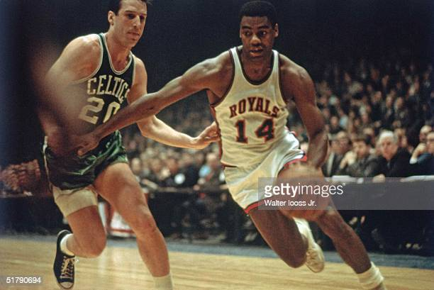 Oscar Robertson of the Cincinnati Royals drives against the Boston Celtics during the NBA game in Cincinnati Ohio NOTE TO USER User expressly...