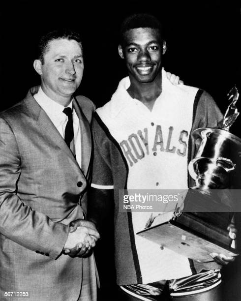 Oscar Robertson of the Cincinnati Royals is awarded the 1961 NBA AllStar MVP Trophy after the 1961 NBA AllStar Game circa 1961 in Syracuse New York...