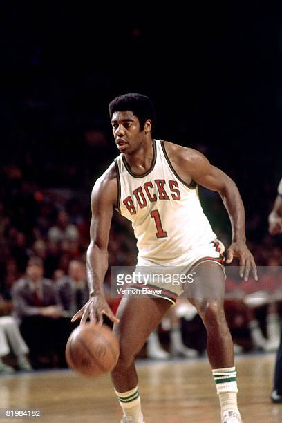 Oscar Robertson of the Milwaukee Bucks moves the ball up court during the 1974 season at the MECCA Arena in Milwaukee Wisconsin NOTE TO USER User...