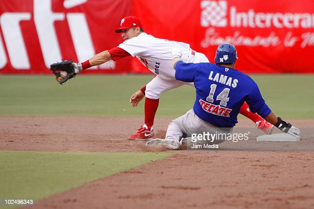 Oscar Robles of Diablos Rojos del Mexico and Antonio Lamas of Acereros de Monclova during their match as part of the 2010 Liga Mexicana de Beisebol...