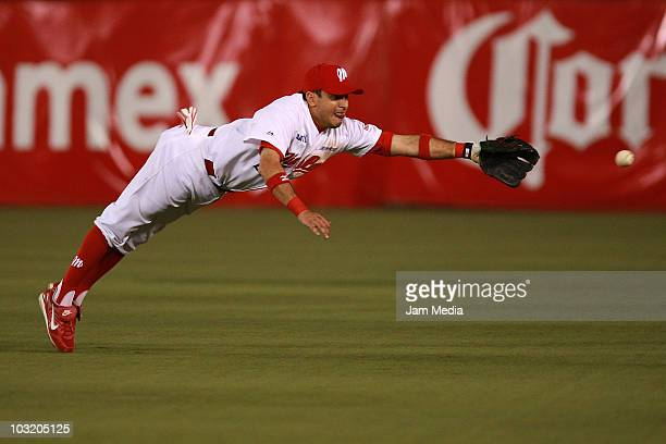 Oscar Robles of Diablos Rojos del Mexico in action during the playoffs of Mexican Baseball League 2010 against Saraperos del Saltillo at the Foro Sol...