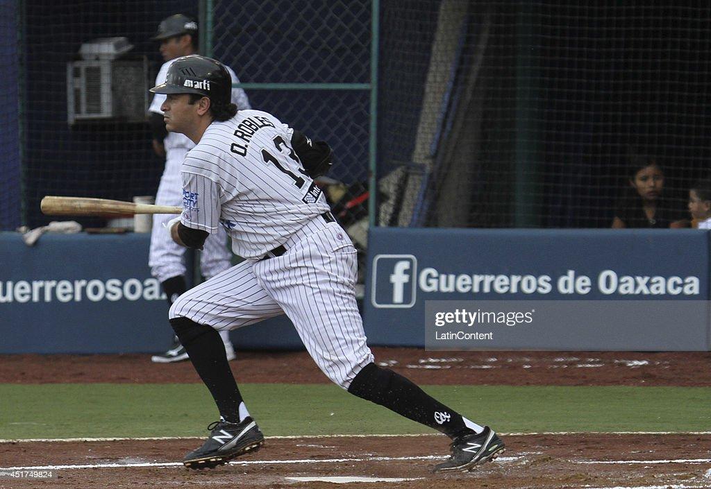 Oscar Robles of Guerreros runs to first base after hitting the ball during a match between Saraperos de Saltillo and Guerreros de Oaxaca as part of...