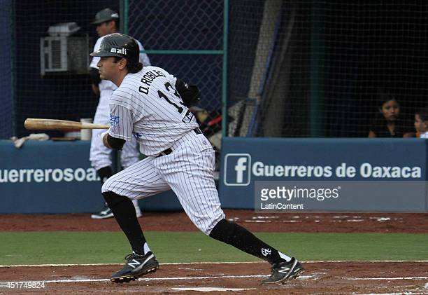 Oscar Robles of Guerreros runs to first base after hitting the ball during a match between Saraperos de Saltillo and Guerreros de Oaxaca as part of...