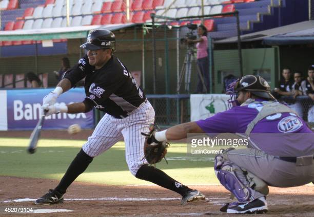 Oscar Robles of Guerreros tries to hit a pitched ball during a match between Delfines del Carmen and Guerreros de Oaxaca as part of the Mexican...