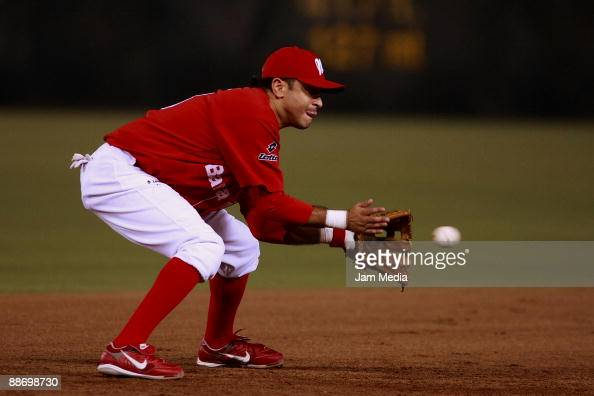Oscar Robles of Mexico's Diablos Rojos in action during the game against Broncos of Reynosa valid for the Mexican Baseball League 2009 at Foro Sol on...