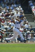 Oscar Robles of the Los Angeles Dodgers bats during the game against the Atlanta Braves at Dodger Stadium on May 15 2005 in Los Angeles California...