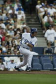 Oscar Robles of the Los Angeles Dodgers bats during the game against the Milwaukee Brewers at Dodger Stadium on June 5 2005 in Los Angeles California...