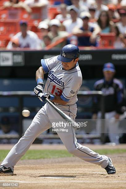 Oscar Robles of the Los Angeles Dodgers bats during the game against the New York Mets at Shea Stadium on July 24 2005 in Flushing New York The Mets...