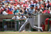 Oscar Robles of the Los Angeles Dodgers batting during the game against the Washington Nationals at RFK Stadium in Washington DC on May 27 2006 The...