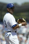 Oscar Robles of the Los Angeles Dodgers fields during the game against the Atlanta Braves at Dodger Stadium on May 15 2005 in Los Angeles California...