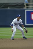 Oscar Robles of the Los Angeles Dodgers playing shortstop during the game against the Milwaukee Brewers at Dodger Stadium on June 5 2005 in Los...