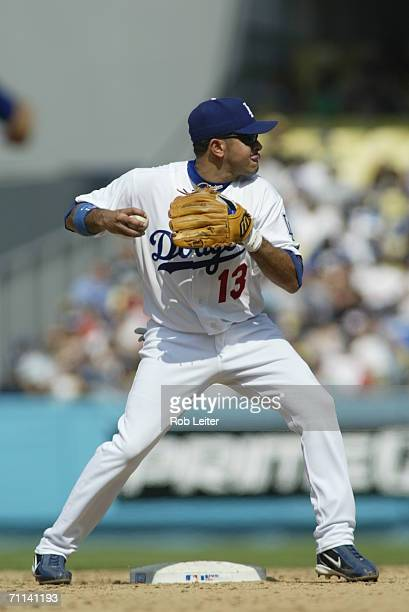 Oscar Robles of the Los Angeles Dodgers prepares to throw during the game against the Milwaukee Brewers at Dodger Stadium in Los Angeles California...