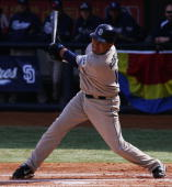 Oscar Robles of the San Diego Padres at bat against the Los Angeles Dodgers at Wukesong Stadium on March 15 2008 in Beijing China The Los Angeles...
