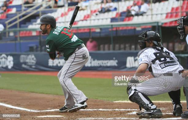 Oscar Robles of Toros de Tijuana swings the bat during the match between Toros de Tijuana and Guerreros de Oaxaca as part of the Liga Mexicana de...