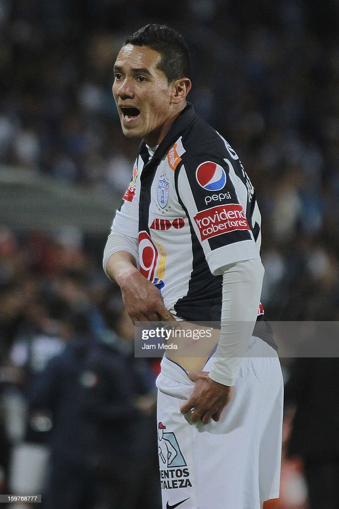 Oscar Rojas of Pachuca reacts during a match between Pachuca and Queretaro as part of the Clausura 2013 Liga MX at Hidalgo Stadium on January 19, 2013 in Pachuca, Mexico.