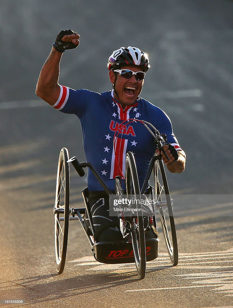 Oscar Sanchez of the United States celebrates winning the Mixed H 1-4 Cycling Team Relay on day 10 of the London 2012 Paralympic Games at Brands Hatch on September 8, 2012 in Longfield, England.