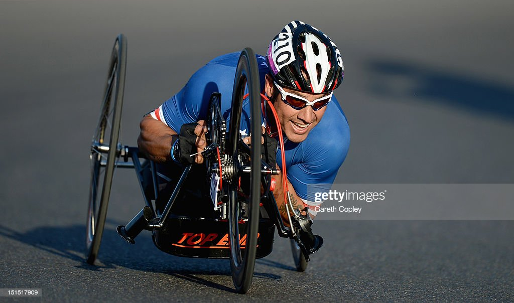 Oscar Sanchez of USA competes in the Mixed H 1-4 relay on day 10 of the London 2012 Paralympic Games at Brands Hatch on September 8, 2012 in Longfield, England.