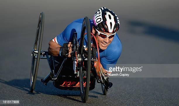 Oscar Sanchez of USA competes in the Mixed H 14 relay on day 10 of the London 2012 Paralympic Games at Brands Hatch on September 8 2012 in Longfield...