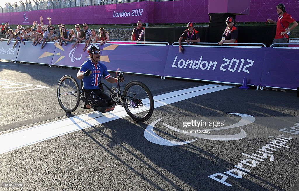 Oscar Sanchez of USA crosses the line to win gold in the Mixed H 1-4 relay on day 10 of the London 2012 Paralympic Games at Brands Hatch on September 8, 2012 in Longfield, England.