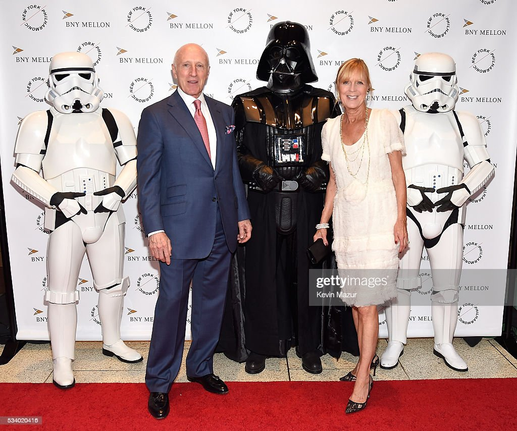 Oscar Schafer, Didi Schafer, Darth Vader and Stormtroopers attend New York Philharmonic's Spring Gala, A John Williams Celebration at David Geffen Hall on May 24, 2016 in New York City.