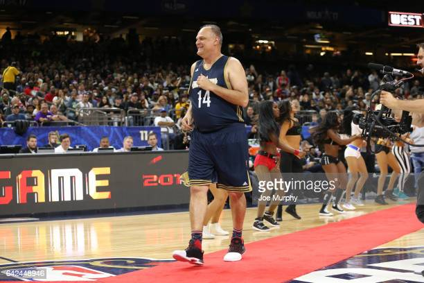 Oscar Schmidt of the East Team prepares for the NBA AllStar Celebrity Game as a part of 2017 AllStar Weekend at the MercedesBenz Superdome on...