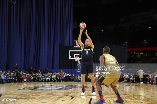 Oscar Schmidt of the East Team shoots during the NBA AllStar Celebrity Game as a part of 2017 AllStar Weekend at the MercedesBenz Superdome on...