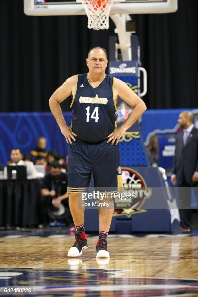 Oscar Schmidt of the East Team stands during the NBA AllStar Celebrity Game as a part of 2017 AllStar Weekend at the MercedesBenz Superdome on...