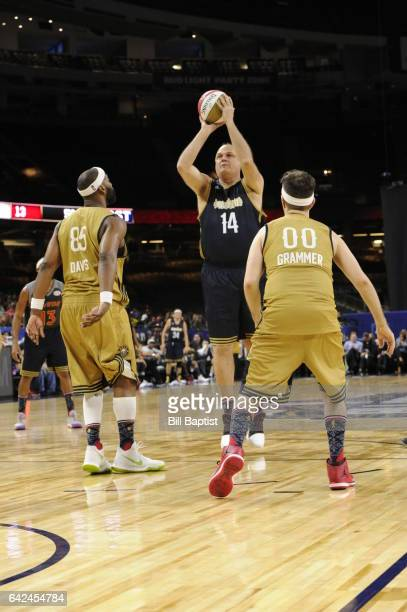 Oscar Schmidt of the West Team shoots the ball against the West Team during the NBA AllStar Celebrity Game as a part of 2017 AllStar Weekend at the...