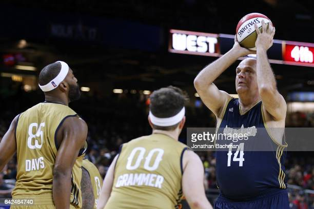 Oscar Schmidt shoots over Baron Davis and Andy Grammer during the NBA AllStar Celebrity Game at the MercedesBenz Superdome on February 17 2017 in New...