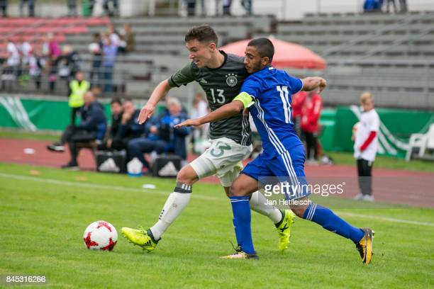 Oscar Schoenfelder of Germany and Ofek Ovadia of Israel fight for the ball during the 'Four Nations Tournament' match between U17 Germany and U17...