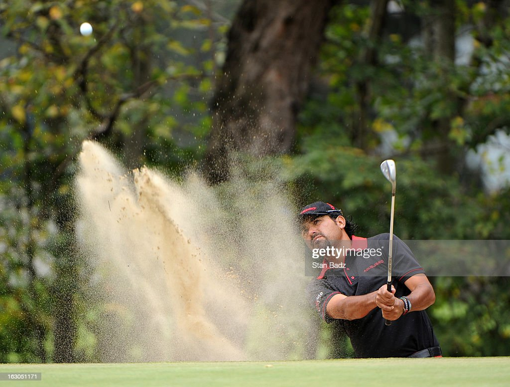 Oscar Serna of Mexico hits from a bunker on the first hole during the final round of the Colombia Championship at Country Club de Bogota on March 3, 2013 in Bogota, Colombia.