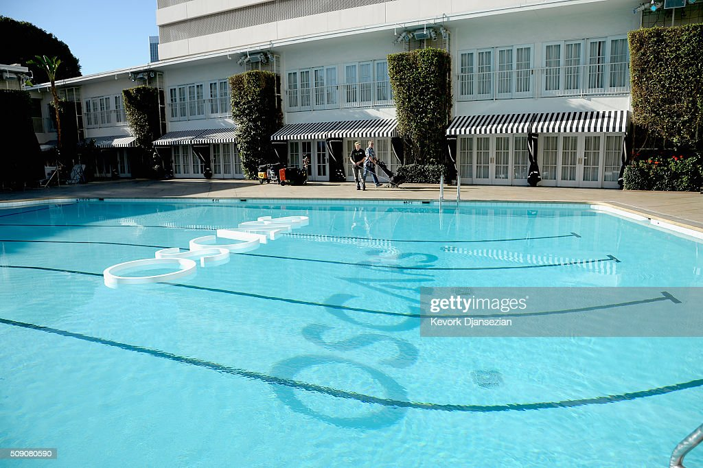 Oscar signage floats atop the pool at The Beverly Hilton during the 88th Annual Academy Awards nominee luncheon on February 8, 2016 in Beverly Hills, California.