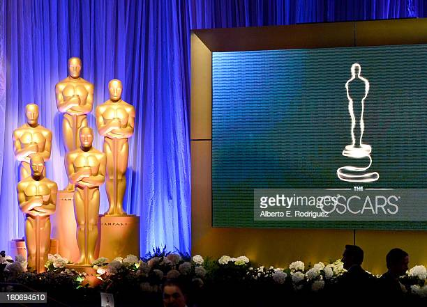 Oscar statue is displayed at the 85th Academy Awards Nominations Luncheon at The Beverly Hilton Hotel on February 4 2013 in Beverly Hills California