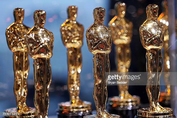 Oscar Statues are displayed at the 2007 'Meet the Oscars' presented by the Academy of Motion Pictures Arts and Sciences on February 12 2007 in New...