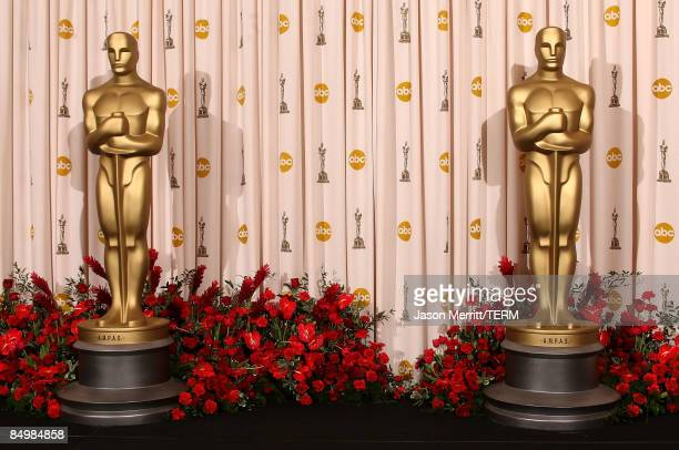 Oscar statue's are displayed in the press room at the 81st Annual Academy Awards held at Kodak Theatre on February 22 2009 in Los Angeles California