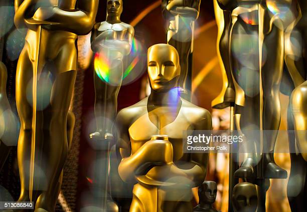 Oscar statues are seen backstage during the 88th Annual Academy Awards at Dolby Theatre on February 28 2016 in Hollywood California