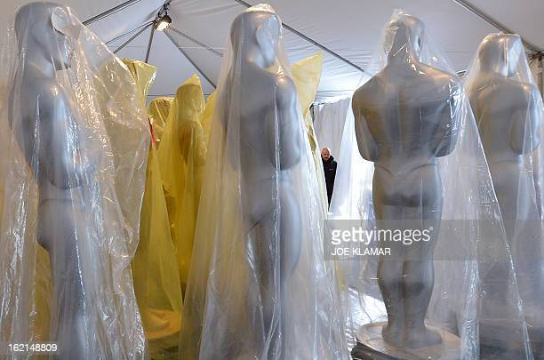 Oscar statues are stored in a tent for the upcoming OSCARS the 85th Academy Awards at Hollywood Boulevard in front of the Dolby Theatre in Hollywood...