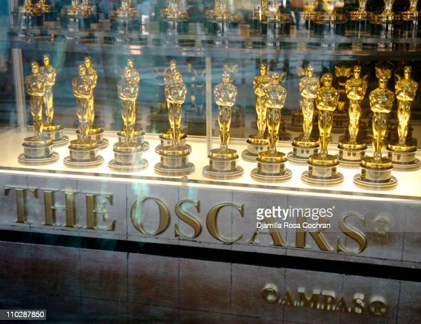 Oscar Statues Display during Oscar Statue Viewing January 24 2006 at Times Square in New York City New York United States